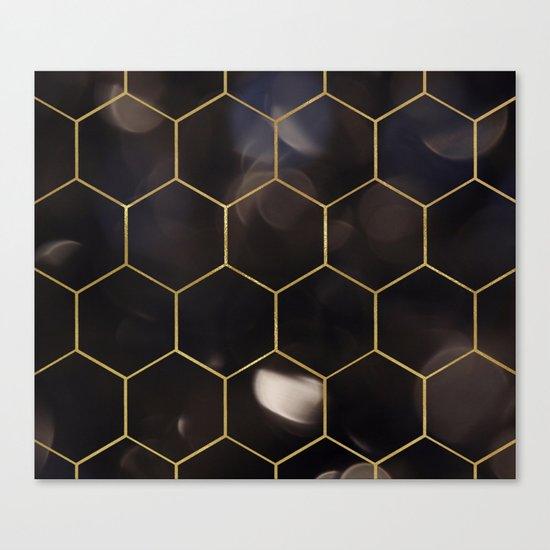 Dark bokeh gold hexagons Canvas Print