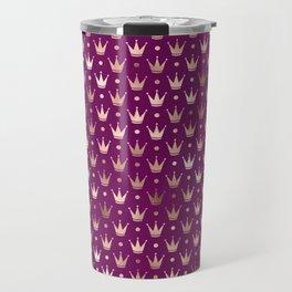 Purple & Rose Gold Crown Pattern Travel Mug