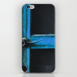 closeup old blue vintage wood door texture background iPhone Skin