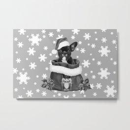French Bulldog Santa Claus - Christmas Nutcracker Bag Metal Print