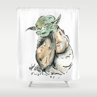 yoda Shower Curtains featuring Yoda by Fernando Eizaguirre