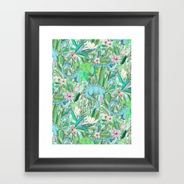 Improbable Botanical with Dinosaurs - soft pastels Framed Art Print