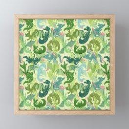 Green Dragons Framed Mini Art Print