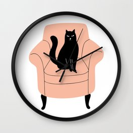 black cat on a chair Wall Clock