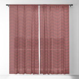 Shaded red waves Sheer Curtain