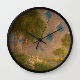 Italian Pastoral Landscape by Gaetano Previati Wall Clock