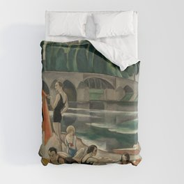 On the Banks of the Loire (the Artists' Colony at Beaugency) riverside portrait painting by Gerda Wegener Duvet Cover