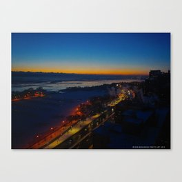 Contrast at Dusk/Clear Sky and Lake Effect (Chicago Sunrise/Sunset Collection) Canvas Print