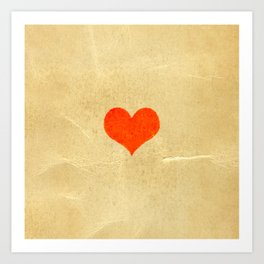 Red heart shape on a texture of old yellowed and cracked paper Art Print