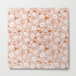 Daisies Pattern - Orange Peach Metal Print