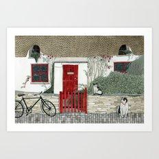 Red Door Cottage Art Print