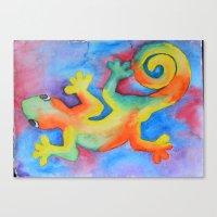 tye dye Canvas Prints featuring Tye Dye Gecko by The Shelley Studio