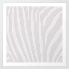 Tan & Off White Zebra Print Art Print