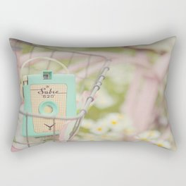 Bike ride through the daisys... Rectangular Pillow