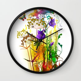 Tropical floral colorful painting with field plants,flowers and butterfly. Summer landscape Wall Clock