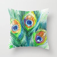 peacock feather Throw Pillows featuring Peacock feather  by Slaveika Aladjova