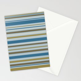 Stripey Design Gold Cream Brown Blues Stationery Cards