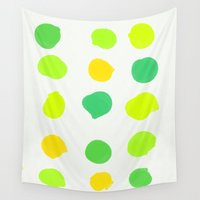 lime Wall Tapestries featuring Lemon Lime by Olivia Joy StClaire