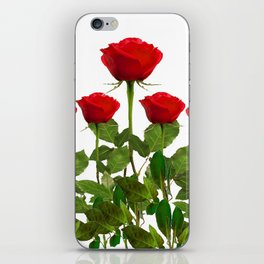 ORIGINAL GARDEN DESIGN OF RED ROSES ON WHITE iPhone Skin