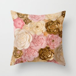 Paper Flowers x Gold Pink Cream Throw Pillow