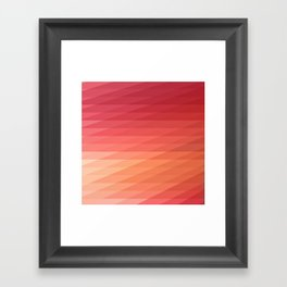 Fig. 044 Coral, Pink & Peach Geometric Diagonal Stripes Framed Art Print
