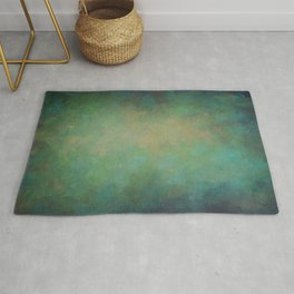 Abstract Soft Watercolor Gradient Ombre Blend 4 Yellow Blue and Green Rug