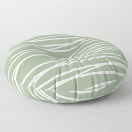 Abstract Stripes Pattern, Sage Green and White, Boho Wall Art Floor Pillow