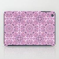 wallpaper iPad Cases featuring Pink kaleidoscope wallpaper by David Zydd
