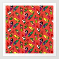 Red Hot Chili Pattern 01 Art Print