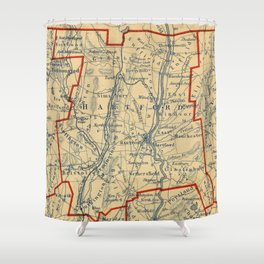 Vintage Map of Hartford County CT (1846)  Shower Curtain