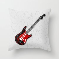 music notes Throw Pillows featuring Music Notes Electric Guitar by GBC Design