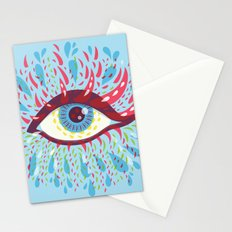 Weird Blue Psychedelic Eye Stationery Cards