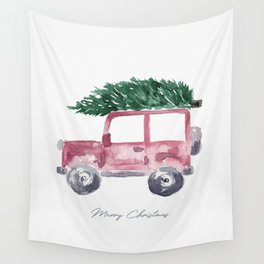 Merry Christmas - Red Jeep Wrangler with Christmas Tree Wall Tapestry