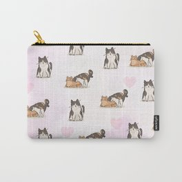 Cute Kittens & Hearts In Pink Carry-All Pouch