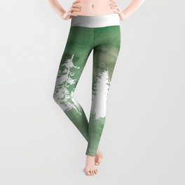 Hand painted forest green white watercolor pine trees Leggings