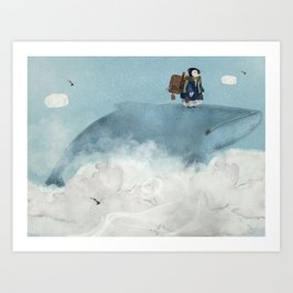 the little explorer and the big blue whale Art Print