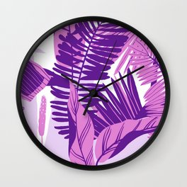 Purple And Pink Monstera Plant Wall Clock