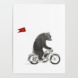 Motorcycle Bear Poster