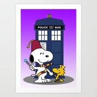 snoopy Art Prints featuring Snoopy Who by plasticdoughnut