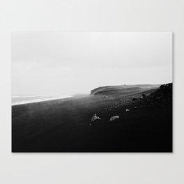 Rainy black sand beach Canvas Print