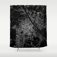 vienna Shower Curtains featuring Vienna map by Line Line Lines