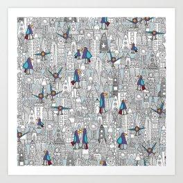 birds and rockets Art Print