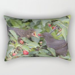 turdus merula common blackbird give food at her puppy Rectangular Pillow