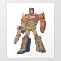 optimus prime Art Prints featuring Optimus Prime by colleencunha