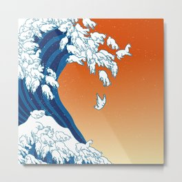 Llama Waves Metal Print