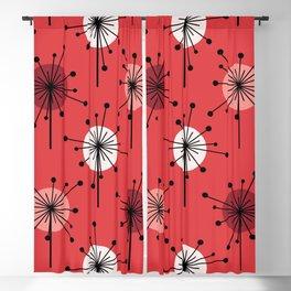 Atomic Era Sputnik Starburst Flowers Red Blackout Curtain