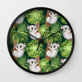 Cute Koala Animal Tropical Green Leaves palm Leaf Art Print Watercolor Illustration pattern Summer Jungle beach Wall Clock
