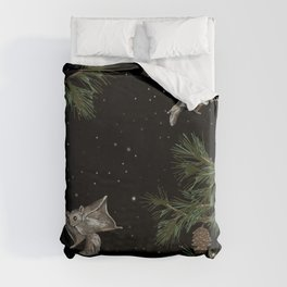 FLYING SQUIRRELS IN THE PINES Duvet Cover