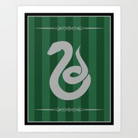 slytherin Art Prints featuring Slytherin by Winter Graphics