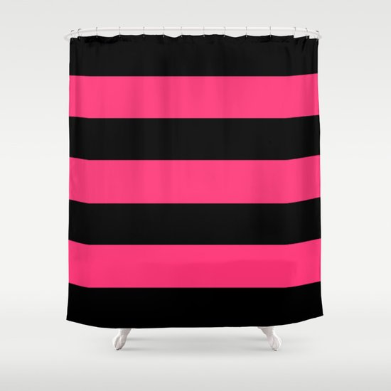 Black And Pink Stripes Shower Curtain By 11penguingirl